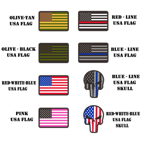 1.3x2 inch PVC USA flag  Tactical Patches hook fastener backing