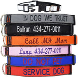 Custom dog Collars Personalized Embroidered dog collars with Name 1 inch Reflective Black Red Blue Orange Pink