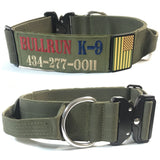 2 inch Personalized Tactical Dog Collar with handle Custom embroidered K9 Collar with USA Flag Camo Thick Service collar for Large Breed Dog