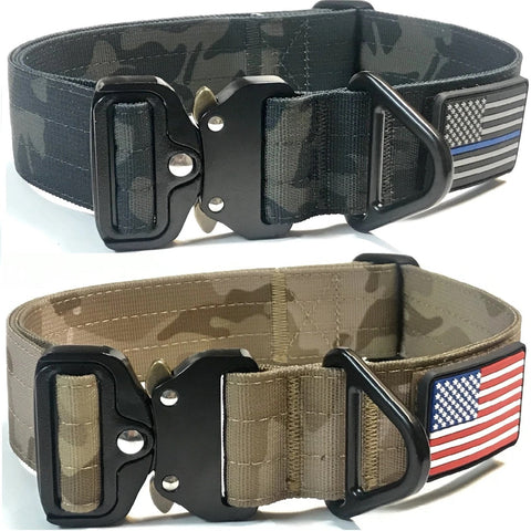 1.5 inch Tactical Dog Collar K9 Collar with USA Flag Blue Line Camo Thick Police Service Dog Collar Cobra Buckle multicam black