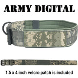 custom personalized tactical k9 dog collar army green digital camo with american flag 1.5 inch thick collar