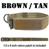 custom tactical  dog collar personalized embroidered  with name and number brown tan k9 canine 1.5 inch collar