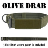 custom embroidered tactical k9  dog collar with name and number and american flag olive green color 1.5 inch