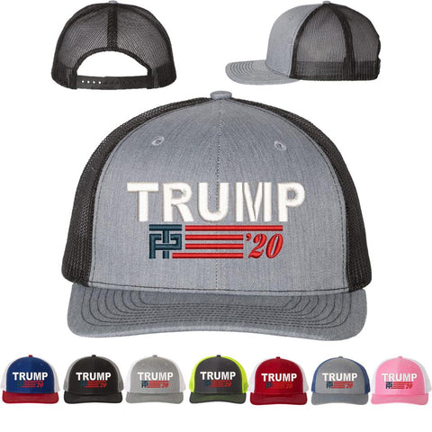 trump 2020 snapback mesh hat grey gray heather black trucker cap