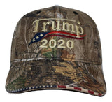 Embroidered in USA Donald Trump 2020 Camo hat realtree cap with american flag sandwich sewn