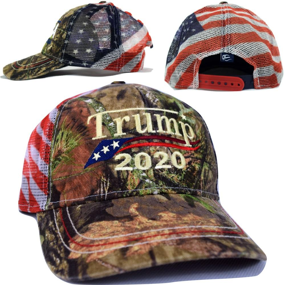 73470dff8 Embroidered in USA Donald Trump 2020 MAGA Cap camo hat with american flag  Mesh Back