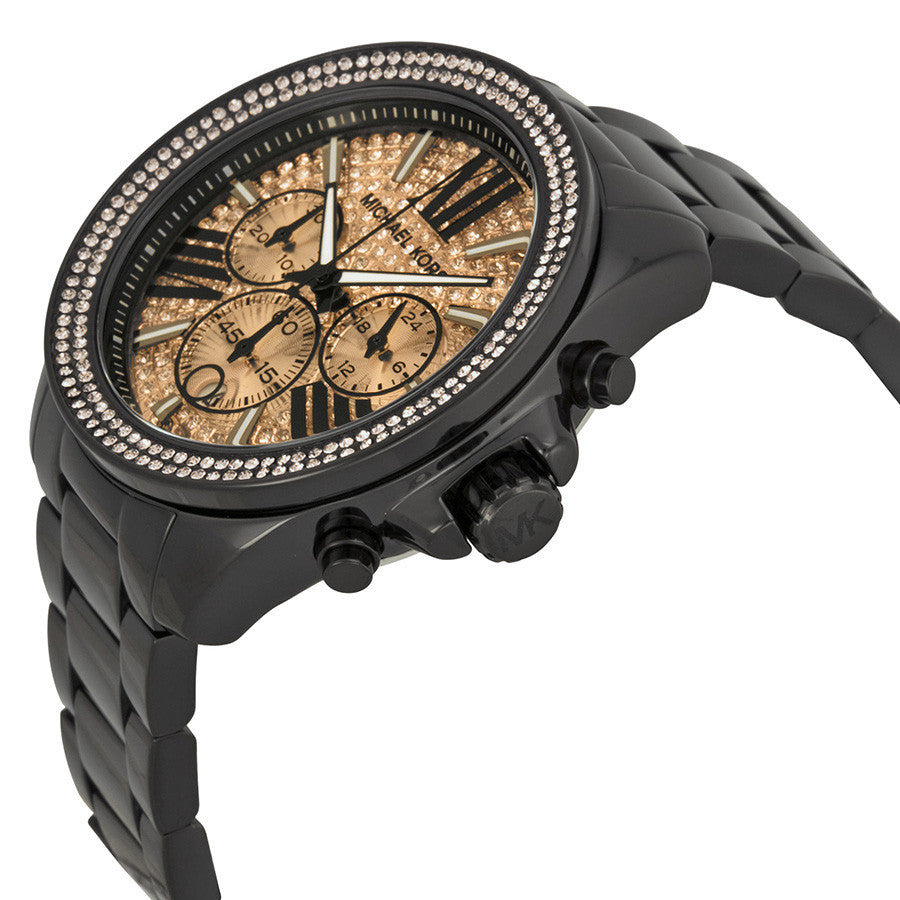 89fac8e8720bc ... MICHAEL KORS Everest Chronograph Rose Dial Black Ion-plated Ladies Watch  MK5879 ...