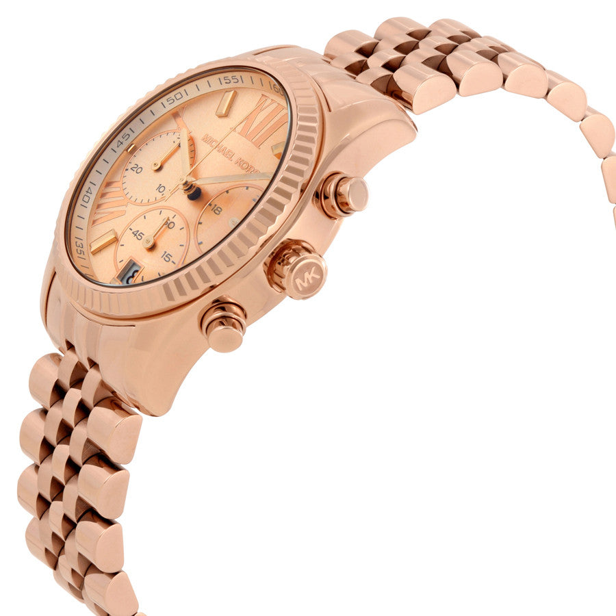 3cdabe2822e5 ... Michael Kors Lexington Chronograph Rose Dial Rose Gold PVD Ladies Watch  MK5569 ...