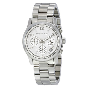 f07bb7d4a0e7 Michael Kors Silver Midsized Chronograph Ladies Watch MK5076 – OhMyShop