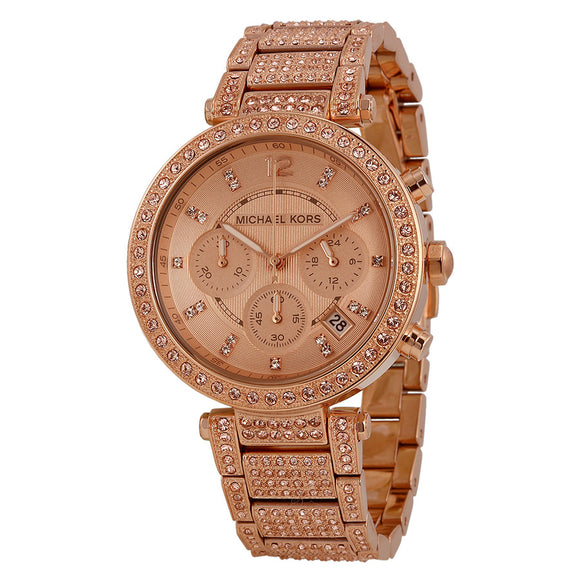 00bf8d5a2d41 Michael Kors Uptown Glam Parker Chronograph Rose Gold-Tone Ladies Watch  MK5663