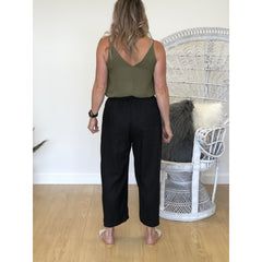 Drawstring Culottes - Black