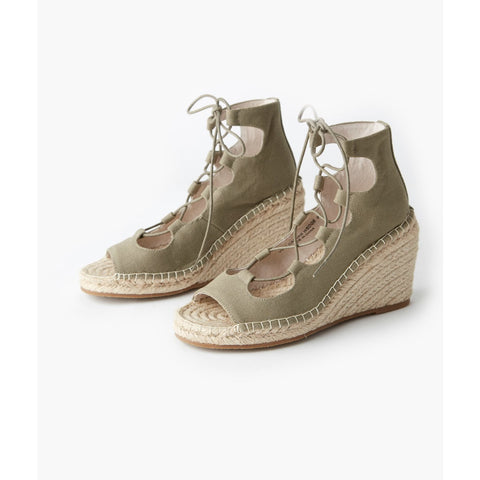 Vine Canvas Wedge - Khaki