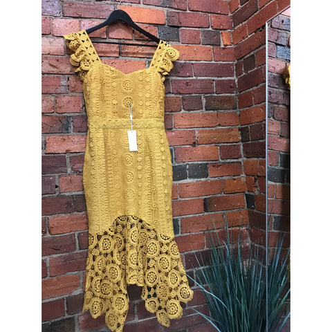 Giselle Lace Dress Mustard by Two Sisters The Label
