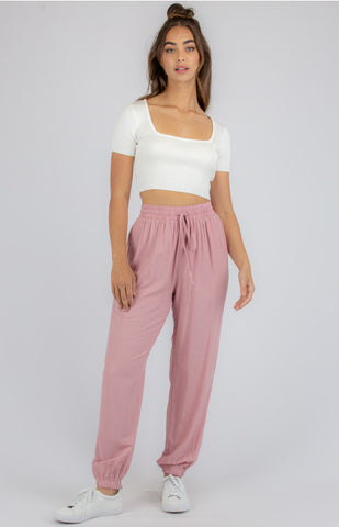 Lightweight Pants with Elastic Cuff Detail