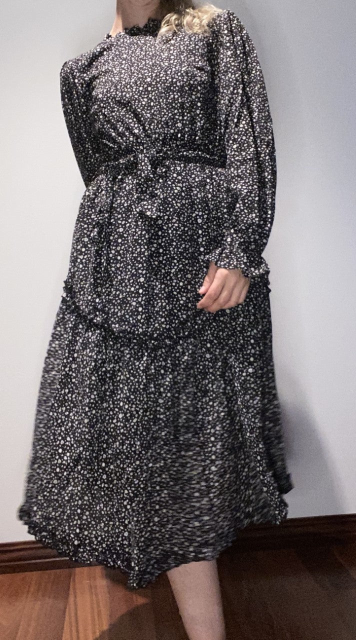 Long Sleeve Floral Dress - Black