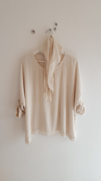 Honey Weave tunic-BEIGE