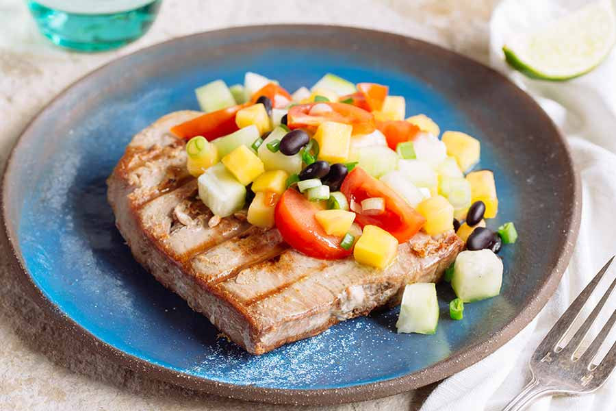 Grilled Tuna with Mango Black Bean Salsa 1
