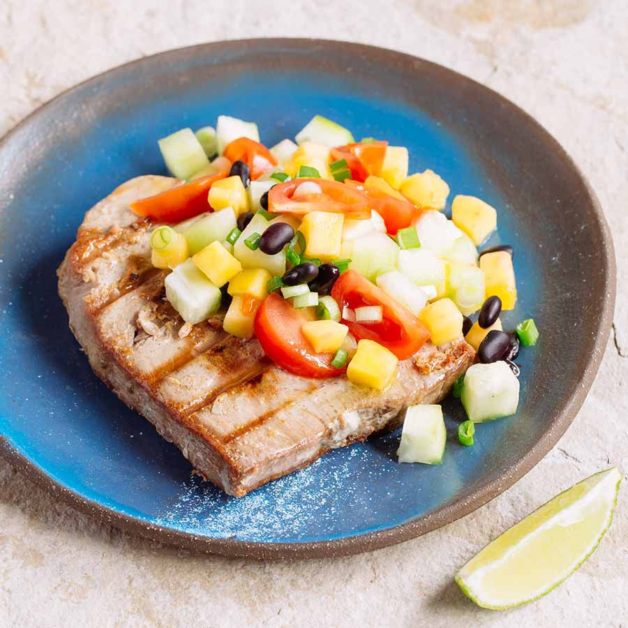 Grilled Tuna with Mango Black Bean Salsa 3