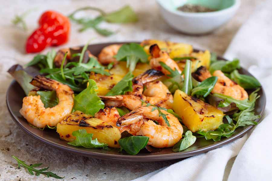 Piri Piri Shrimps with Grilled Pineapple and Mix Greens Salad 1