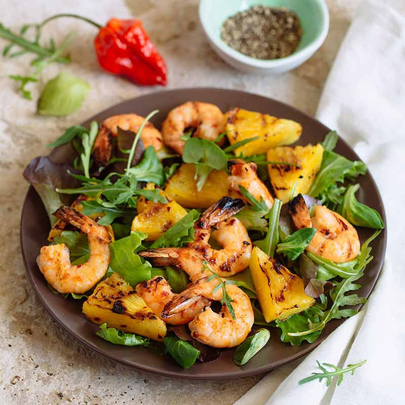 Piri Piri Shrimps with Grilled Pineapple and Mix Greens Salad 3
