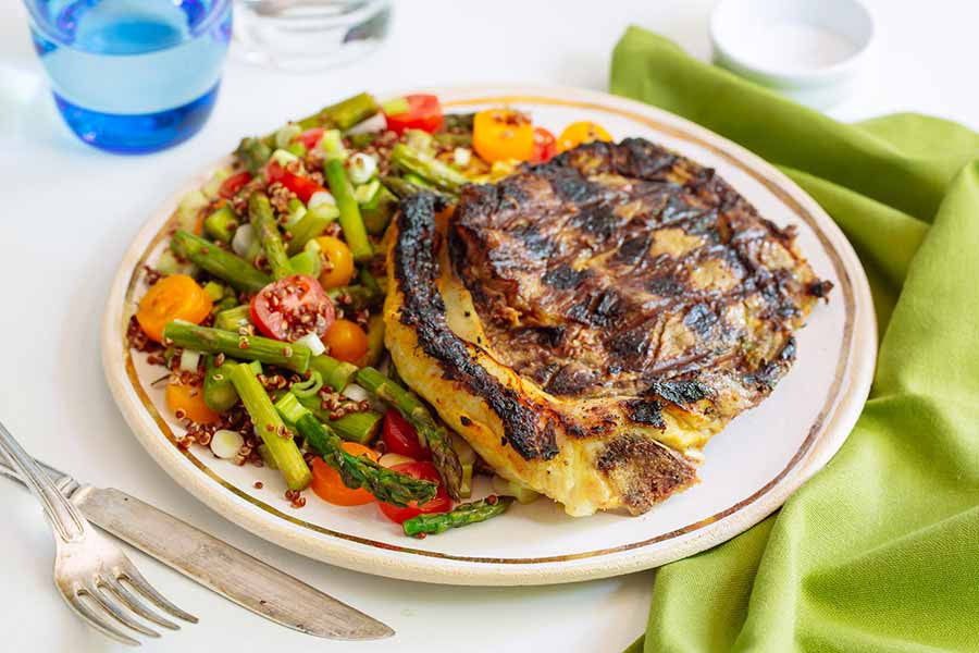 Tandory Steaks with Asparagus Quinoa Salad 1