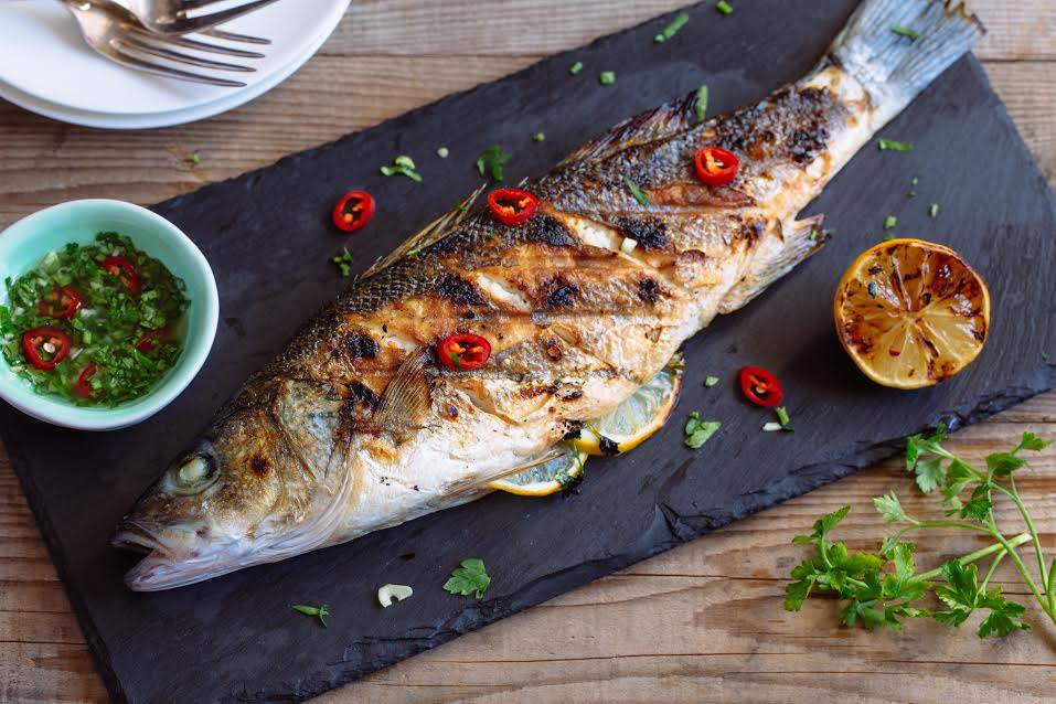 Whole Grilled Sea Bass with Chimichurri Sauce 1