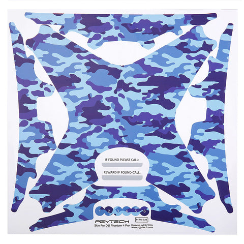 PGY-Tech Sticker Set for Phantom 4 Pro (Blue Camouflage)
