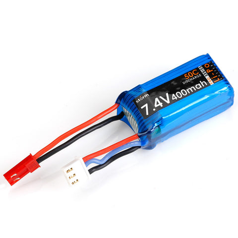 Storm 7.4V 400mAh 50C LiPo Battery Pack (JST)