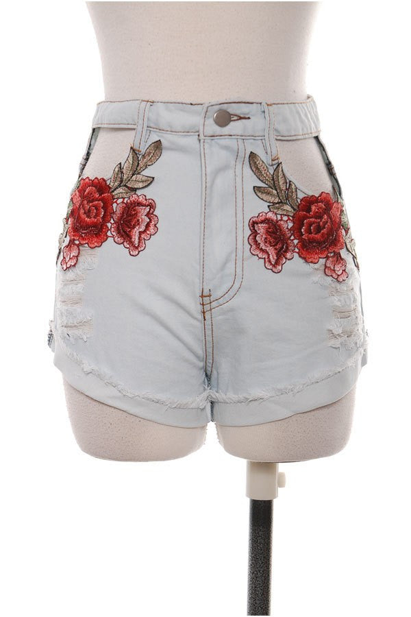 Rose Embroidery Cut Out Cut Off Denim Shorts
