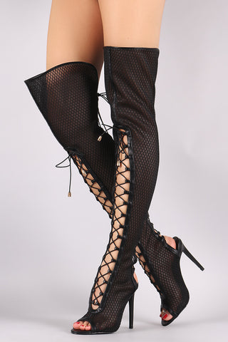 Netted Mesh Corset Lace-Up Stiletto Over-The-Knee Boots