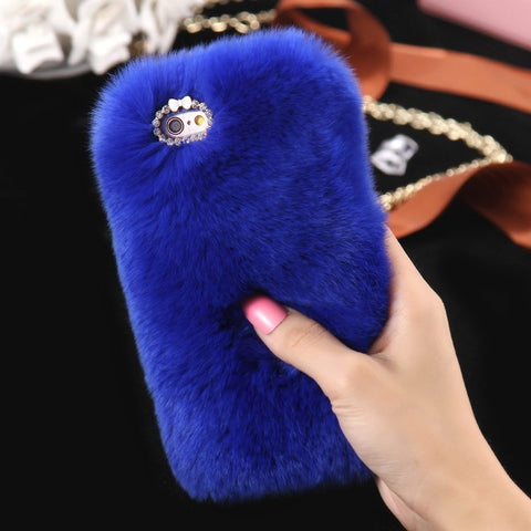 KISSCASE Real Rabbit Fur Case For iPhone 8 6 6s 7 Plus 5S SE Luxury Cute Girly Diamond Cover Cat Case For iPhone X 7 8 6 Capa