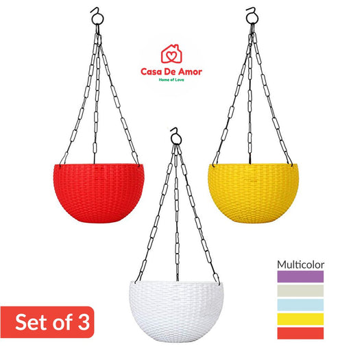 Casa De Amor Hanging Flower Pot Basket With Hook Chain  (Pack of 3- Multicolor)