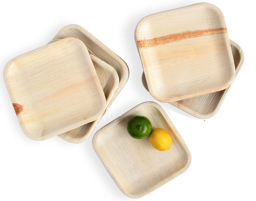 Palm Leaf Square Plates, 6 Inches, Pack of 50, Eco- Friendly, 100%, Natural, Bio-degradable