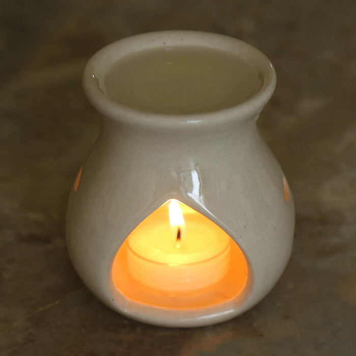 Ceramic Aroma Oil Warmer with Lavendar Oil and Tealight. Candle Diffuser for Living Room, Balcony Spa Yoga Meditation