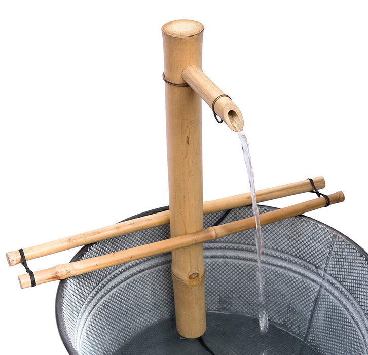 Bamboo Water Fountain, Smooth Split-Resistant Bamboo, 18 Inches