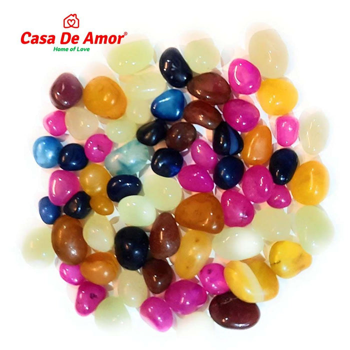 Casa De Amor Onyx Colored Pebbles Glossy Home Decorative Vase Fillers Stone Multi-colour
