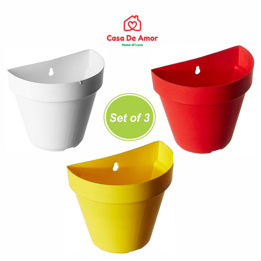 Casa De Amor Plastic Wall Hanging Pot Set (Set of 3)
