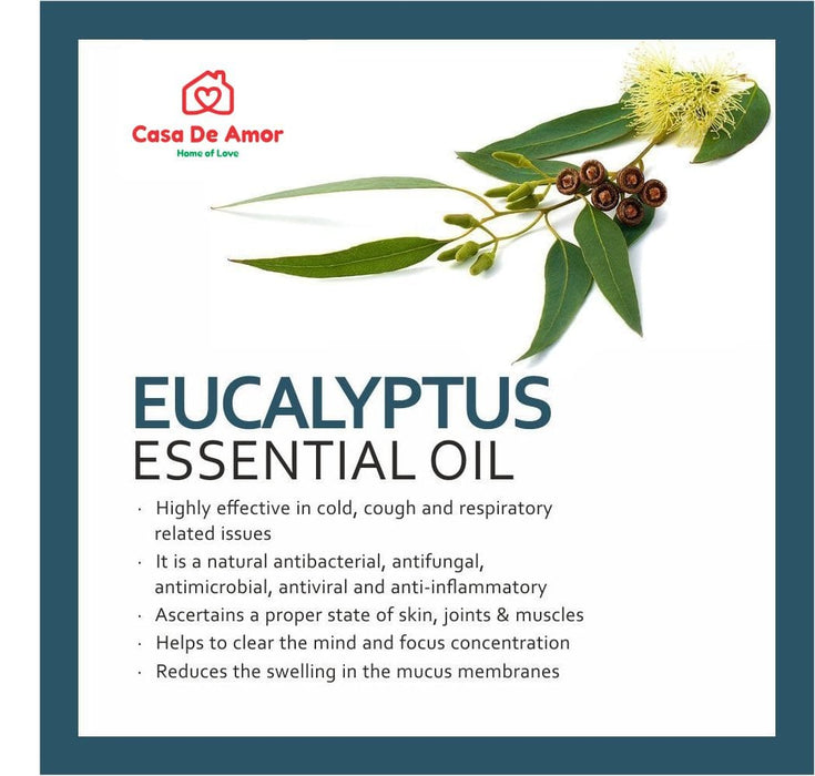 Casa De Amor 100% Pure, Natural And Undiluted Eucalyptus Essential Oil (15ml)