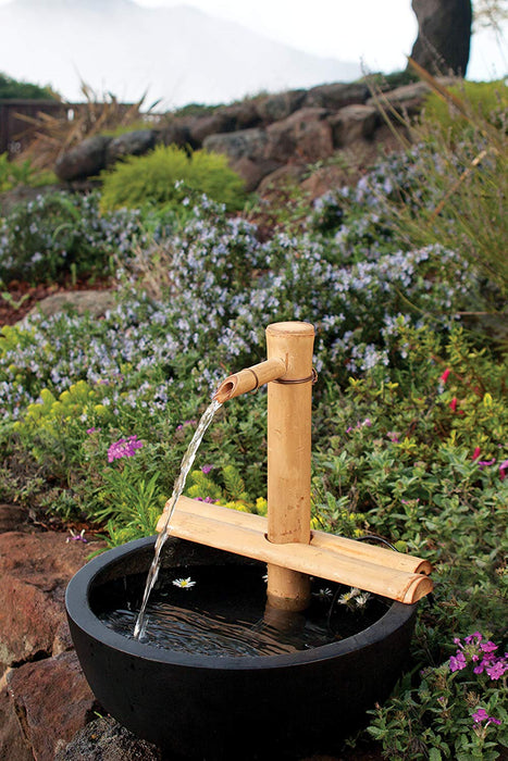 Bamboo Water Fountain for Patio, Indoor/Outdoor, 12-Inches Half-Round Flat Base-1 Piece