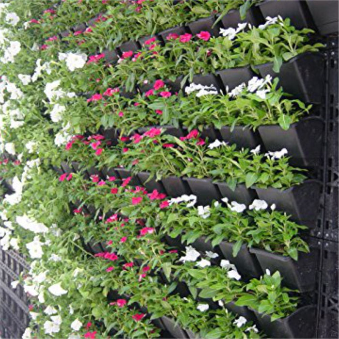 Casa De Amor Vertical Wall Garden Panel with Hanging 9 Pots (Black) - Set of 3