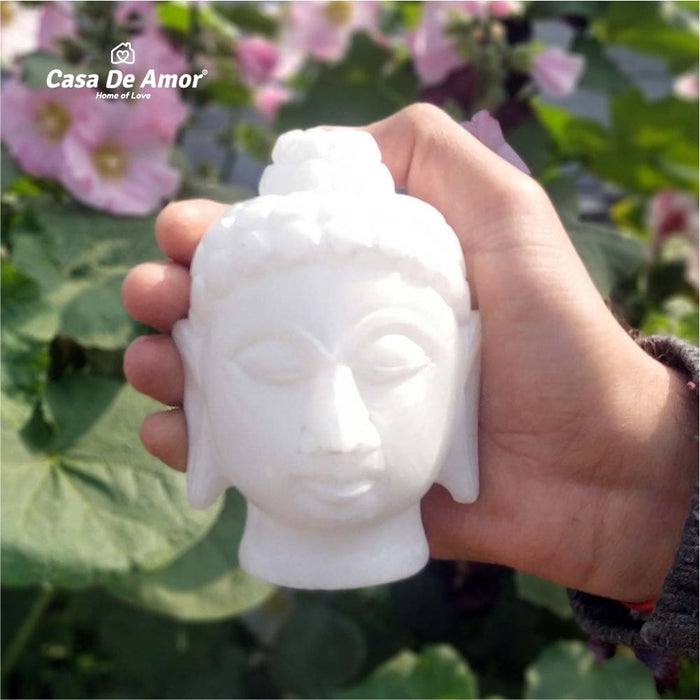 Buddha Face Statue -Pure White Marble Idol Vastu and Gift Item for Home and Office Decor- 1
