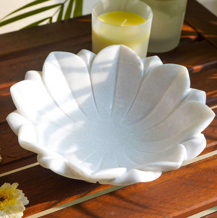 Casa De Amor Floral Shape Marble Bowl/Garden Bowl/Modern Flower Bowl for Indoor and Outdoor Decoration/Decorative Centrepiece Floral Bowl (11 inches, White)