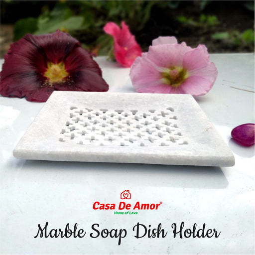 Casa De Amor Marble Soap Dish Holder for Bathroom for Wash Basin Beautifully Crafted Bathroom Accessory