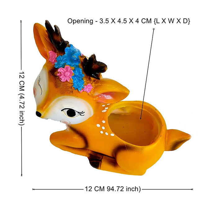 Casa De Amor 4.7 inch Deer Pot Resin Small | Mini Cute Set Succulent Plant Pot Cactus Plant Pot Flower Pot Container Planter Bonsai Pots - Set of 1
