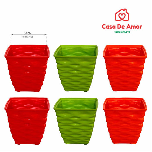 Casa De Amor Plastic Diamond Pot Set (Multicolored, 6-Pieces)