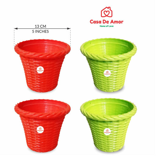 Casa De Amor Garden Essential Plastic Shining Pot Green & Orange- 6 Inches (Set of 4)