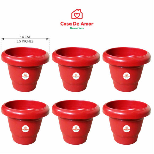 Casa De Amor Plastic Round Pot (5 Inches) -Terracotta Color - Set of 6