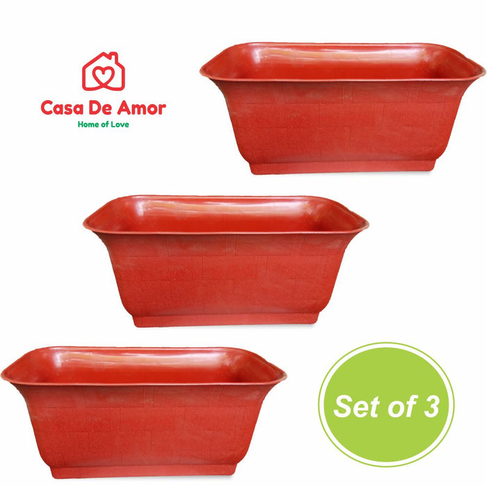 Casa De Amor Rectangle Flower Pots (Terracotta Color)
