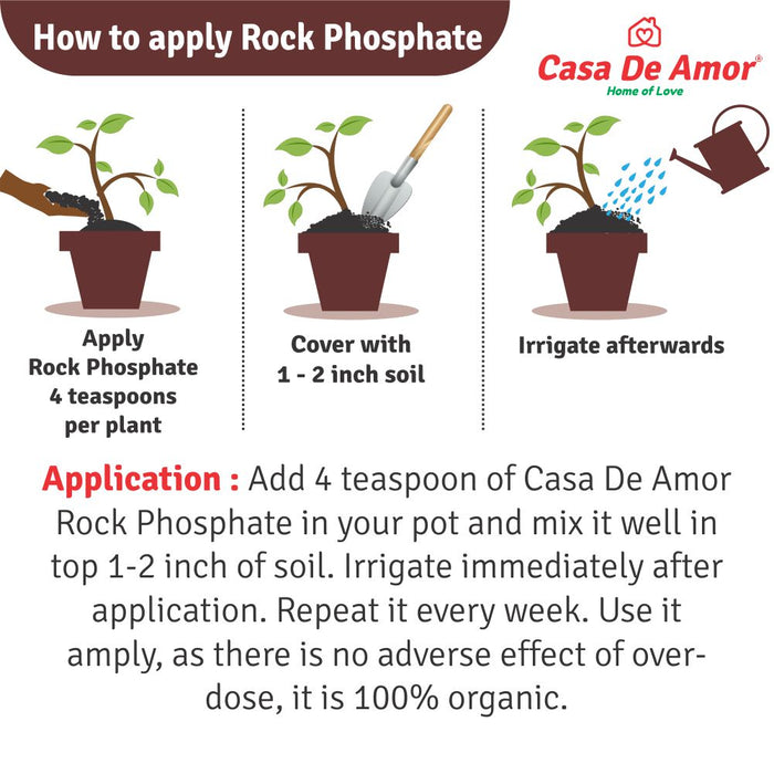 Casa De Amor Natural & Mineral Rock Phosphate Fertilizer All Purpose Crushed Powder for Fruiting and Flowering Plants