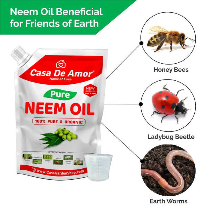 Casa De Amor Organic Cold Pressed, Pure Neem Oil For Spray On Plants & Garden